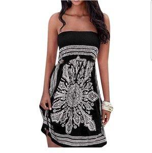 Boho Vintage Tube Sleeveless Dress Size Medium